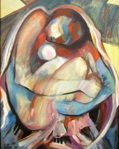 B. Jánosi Gyöngyi: Anyaszeretet (1986), olaj, vászon, 70x50 cm