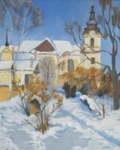 B. Jánosi Gyöngyi: Téli napsütés a promenádon (2003), olaj, farost, 60x50 cm