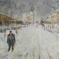 B. Simon Ferenc: Az első hó (év nélkül), olaj, vászon, 72x102 cm