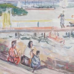 Bakky Sándor: Almádi móló (év nélkül), olaj, vászon, 60x80 cm