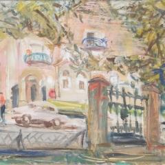 Bakky Sándor: Füreden (év nélkül), olaj, vászon, 60x80 cm
