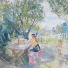Bakky Sándor: Kertben (1958, Csopak) olaj, vászon, 60x80