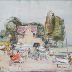 Bakky Sándor: Vitorlások (1964), olaj, vászon, 60x80 cm