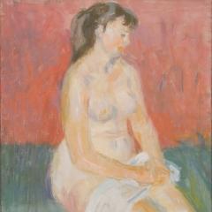 Bakky Sándor: Ülő akt (1958) olaj, vászon, 60x50 cm