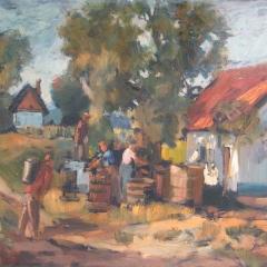 Benke László: Szüret (év nélkül), olaj, farost, 50x59 cm