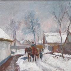 Benke László: Téli utca (1962), olaj, vászon, 60x80 cm