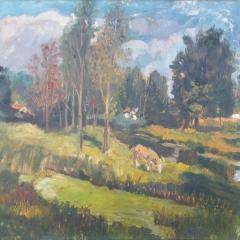 Benke László: Vízparton legelő tehén (1979), olaj, farost, 60x80 cm