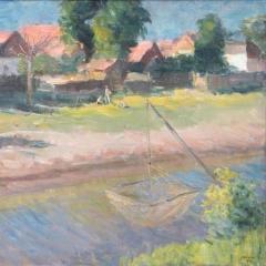 Chiovini Ferenc: Tiszaparti táj (1957), olaj, vászon, 75x100 cm