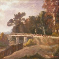 Gálffy Béla: Külső Zagyva-híd (év nélkül), olaj, vászon, 40x50 cm