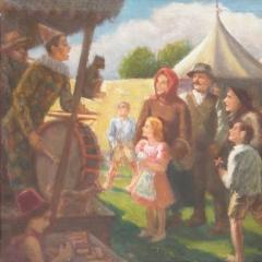 Gecse Árpád: Cirkusz falun (1930), olaj, vászon, 55x68 cm