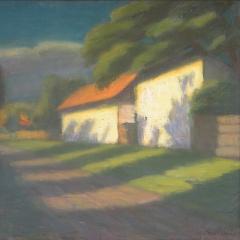 Gecse Árpád: Falusi utca alkonyatkor (1974), olaj, vászon, 50x60 cm