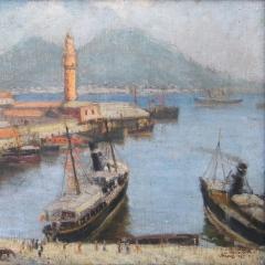 Gecse Árpád: Nápolyi öböl (1925), olaj, vászon, 40x50 cm