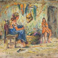 Gy. Riba János: Beszélgetők (év nélkül), olaj, vászon, 42x51 cm