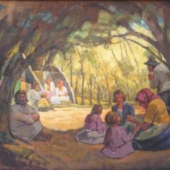 Gy. Riba János: Erdőben pihenők (év nélkül), olaj, vászon, 70x92 cm