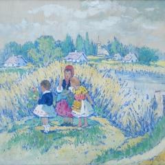 Gy. Riba János: Kislányok a Zagyvaparton (1940-es évek), olaj, vászon, 60x70 cm