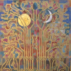 Laki Ida: A tudás fája (1993), olaj, farost, 80x70 cm