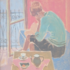 Laki Ida: Olvasó lány (év nélkül), olaj, farost, 49x39 cm