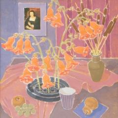 Laki Ida: Téli csendélet (év nélkül), olaj, farost, 80x70 cm