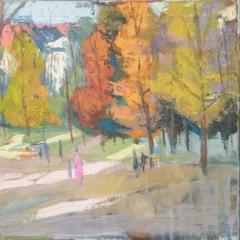 Litkei József: Parkban, (év nélkül), olaj, vászon, 50x60 cm