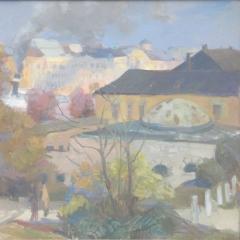 Litkei József: Rudas fürdő (év nélkül), olaj, vászon, 60x80 cm