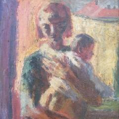 Makay József: Anya gyermekével (1976), olaj, farost, 85x62,5 cm