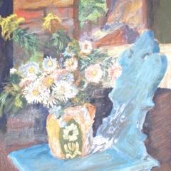 Makay József: Csendélet székkel (év nélkül), olaj, farost, 113x68 cm