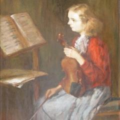 Makay József: Hegedűóra (év nélkül), olaj, vászon, 141x80 cm