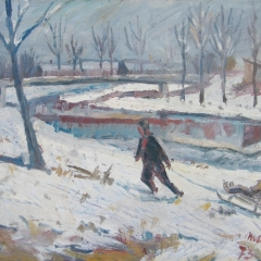 Makay József: Szánkózók (1973), olaj, farost, 58x75 cm