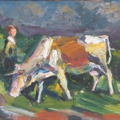 Makay József: Tehén és pásztorlány (év nélkül), olaj, farost, 47,5x59,5 cm