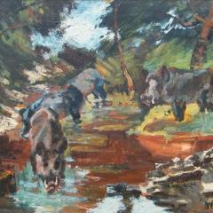 Makay József: Vaddisznók (1977), olaj, farost, 79x110 cm