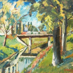 Makay József: Zagyvapart a Szövetkezet úti híddal (év nélkül), olaj, farost, 63x78 cm