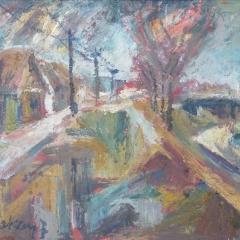 Makay József: Zagyvaparti öreg házak (év nélkül), olaj, farost, 57,5x75 cm