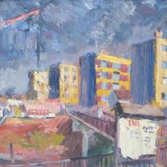 Makay József: Épülő Jászberény (év nélkül), olaj, farost, 60x80 cm
