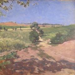 Olgyay Ferenc: Dűlőút (1922), olaj, karton, 40x45 cm