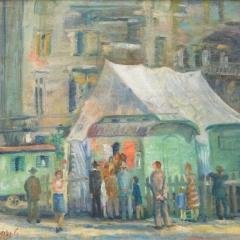 Orosz Gellért: Cirkusz (1945), olaj, vászon, 52x63 cm
