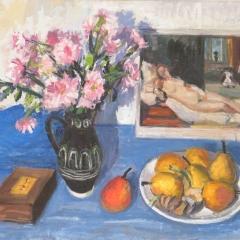 Orosz Gellért: Csendélet Tiziano-akttal (év nélkül), olaj, vászon, 60,5x81 cm