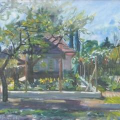 Orosz Gellért: Virágos kert (1959), olaj, vászon, 60x80 cm