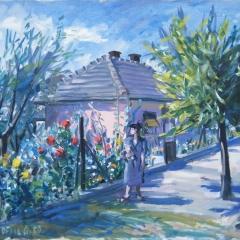 Orosz Gellért: Árnyas út (1959), olaj, vászon, 60x80 cm
