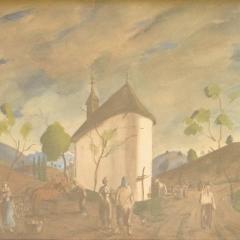 Rudnay Gyula: Bábonyi táj alakokkal (1943), akvarell, papír, 35x48 cm