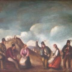 Rudnay Gyula: Mulatozó társaság (év nélkül), olaj, vászon, 51x60 cm