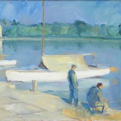 Sáros András: Keszthelyi part (1963), olaj, vászon, 60x80 cm