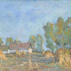 Sáros András: Őszi táj (év nélkül), tempera, farost, 50x70 cm