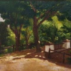 Sashegyi Kálmán: Park híddal (év nélkül), olaj, karton, 50x70 cm