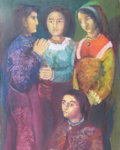 Sisa József: A négy grácia (év nélkül), olaj, vászon, 130x70 cm