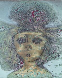 Sisa József: Női portré (év nélkül), tűzzománc, 28,2x28,5 cm
