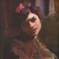 Thorma János: Női portré – A Cigányutca részlete (szétvágva) (1907), olaj, vászon, 50x40 cm