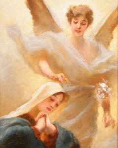 Vágó Pál: Angyali üdvözlet (év nélkül), olaj, farost, 32x12 cm