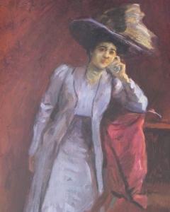 Vágó Pál: Kalapos hölgy (év nélkül), olaj, karton, 70x48 cm