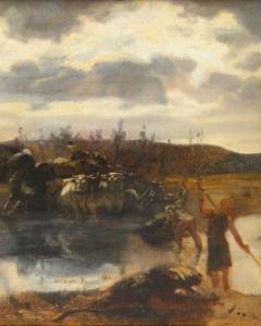 Vágó Pál: Átkelés a folyón (év nélkül), olaj, karton, 34x43 cm