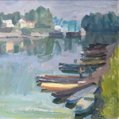 Vuics István: Csónakok a kikötőben (év nélkül), olaj, vászon, 60x70 cm